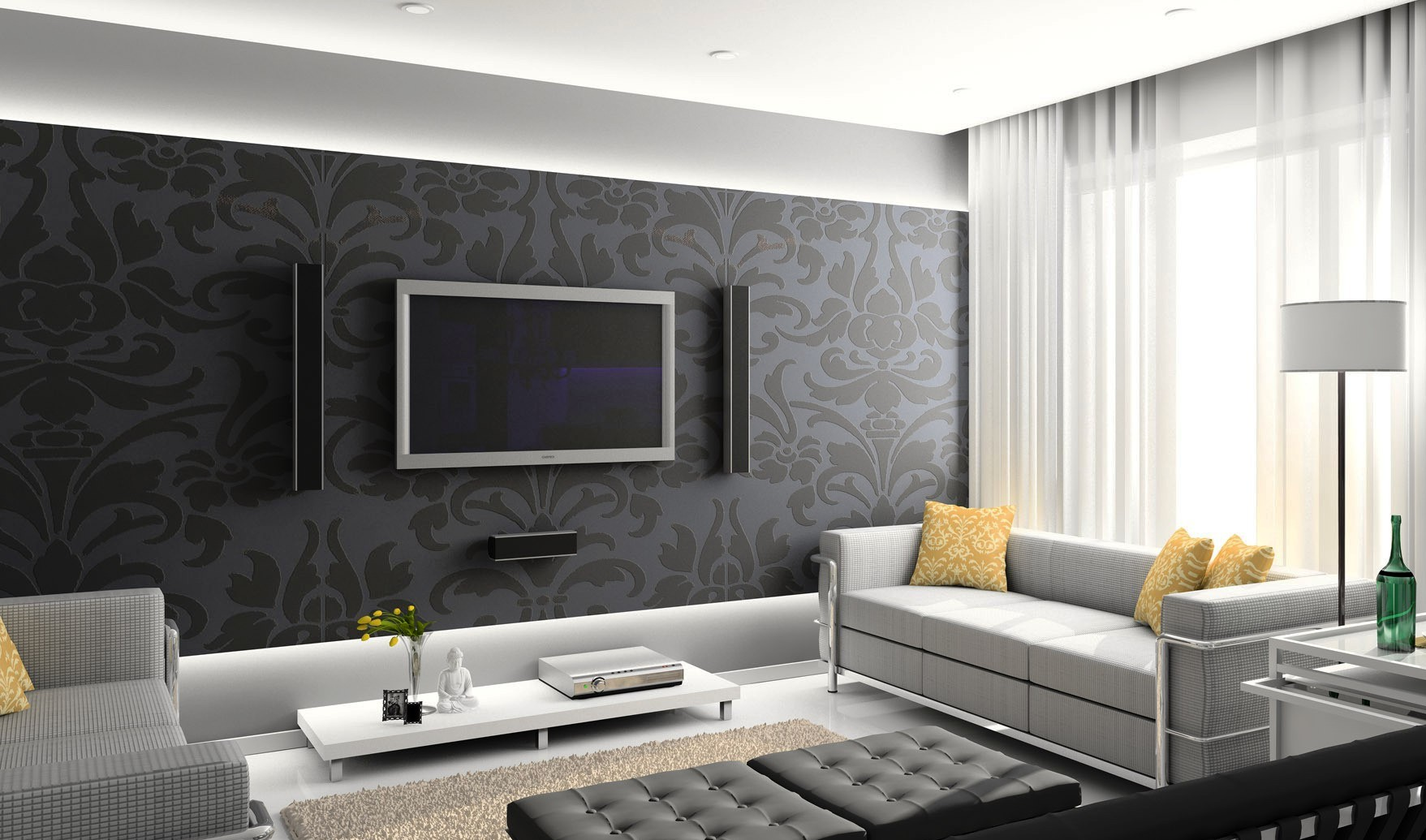 Дизайн комнат обоями фото